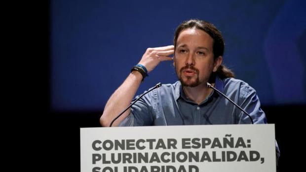 El líder de Podemos, pablo Iglesias, este lunes durante un acto en el Círculo de Bellas Artes de Madrid