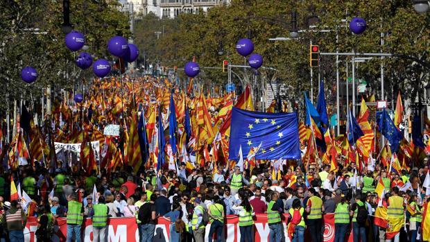 Manifestación el pasado 29 de octubre en Barcelona por la unidad de España
