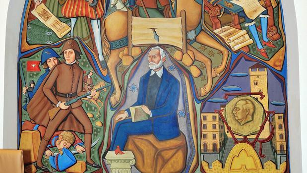 Le figie de Francisco Franco se puede ver junto a la representación central del mural dedicada a Miguel de Unamuno