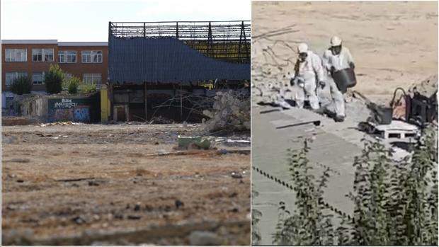 El polideportivo en obras, con el instituto detrás; al lado, los operarios retirando el amianto