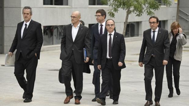 Los consejeros encarcelados, al llegar a la Audiencia Nacional