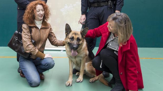 Cristina Klimovitz, concejala de Familia, y Ana Suárez, concejala de Ciudadanos en el Ayuntamiento de Salamanca, junto al animal adiestrado