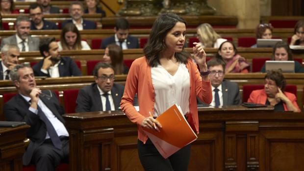 Inés Arrimadas, durante un pleno en el Parlament