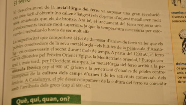 En esta página del manual se alude a la Península Ibérica al referirse a España pero se cita ya a Cataluña