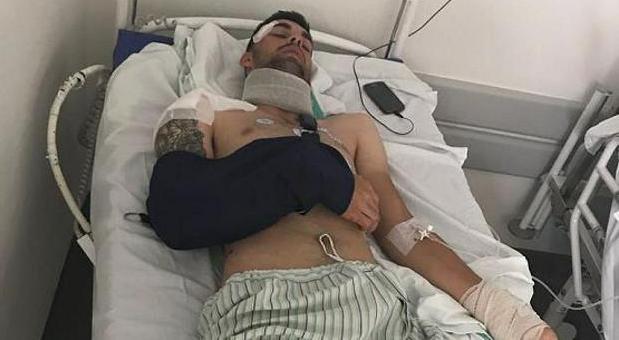 El equipo de Jesús Alberto Ruiz difundió esta fotografía del ciclista tras el accidente
