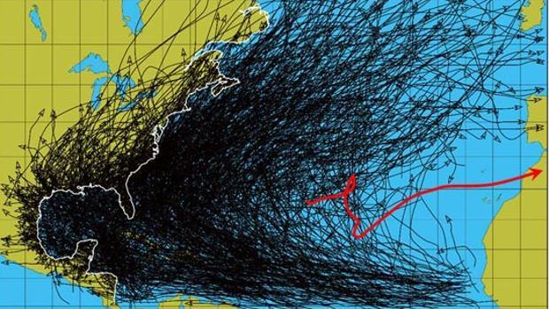 Tormentas y huracanes entre 1884 y 2004 aunque la línea roja corresponde a «Delta»