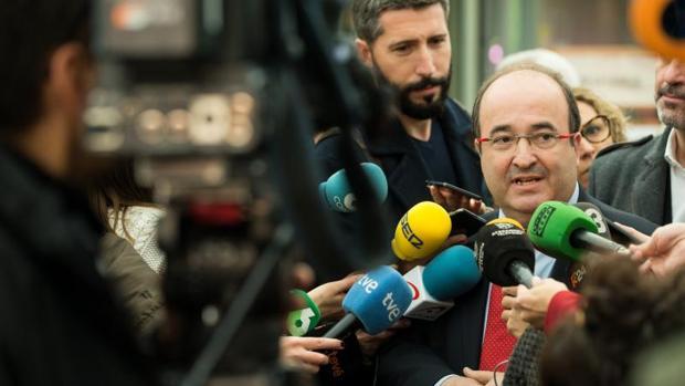 Miquel Iceta, ayer durante un acto de precampaña en Barcelona