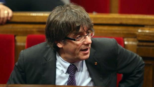 Carles Puigdemont, en un pleno del Parlament