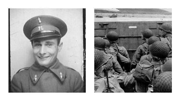 El catalán Juan Pujol, a la izquierda; y el desembarco de Normandía, a la derecha