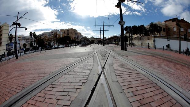 Imagen de las vías de tranvía en Valencia