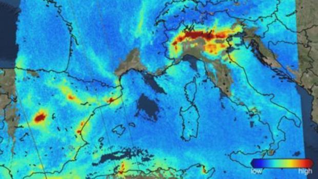 La alta contaminación de Madrid se ve desde el espacio señalada en rojo