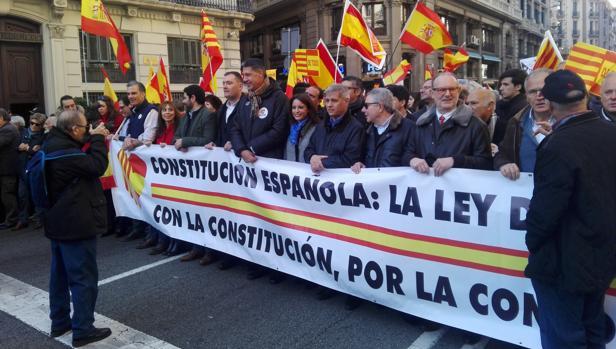 La cabecera de la manifestación en Barcelona