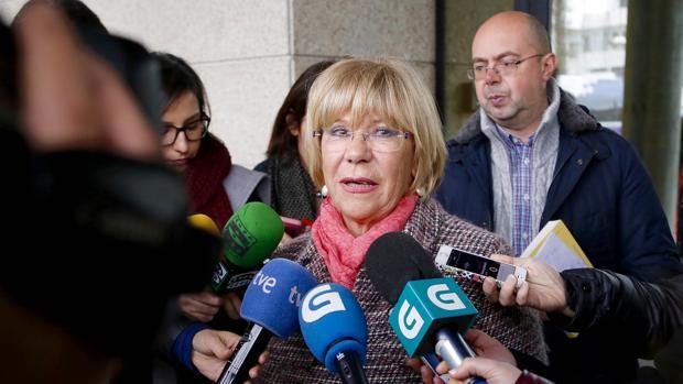 Isaura Abelairas, a su salida de la Audiencia de Pontevedra