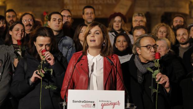 La portavoz del PSPV-PSOE en el Ayuntamiento de Valencia, Sandra Gómez, durante la presentación de su candidatura a la secretaría general de su partido en la ciudad