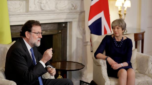 Mariano Rajoy y Theresa May, en Downing Street, el pasado martes