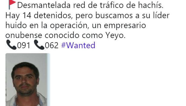 Tuit de Policía Nacional alertando de la búsqueda de Sergio Mora