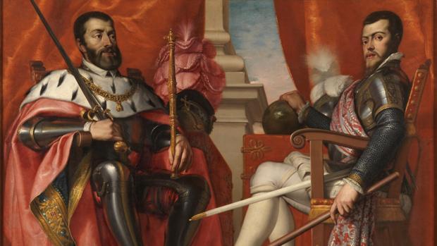 Cuadro de Carlos V y Felipe II pintado por Antonio Arias Fernández