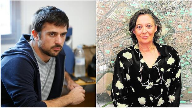 A la izquierda, Ramón Espinar; a la derecha, Olga García