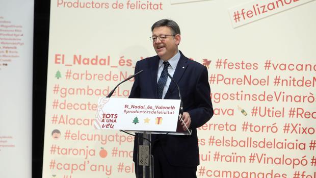 Imagen de Ximo Puig en la presentación de la campaña de Navidad