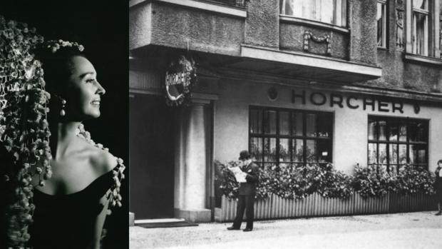 A la izquierda, Aline Griffith en su juventud; a la derecha, el restaurante Horcher