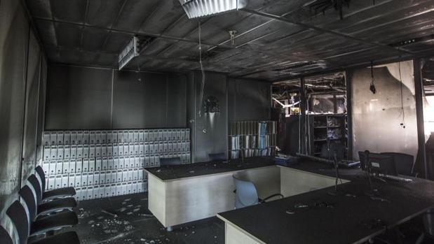 Estado en el que quedó una de las dependencias de la Ciudad de la Justicia de Valencia tras el incendio