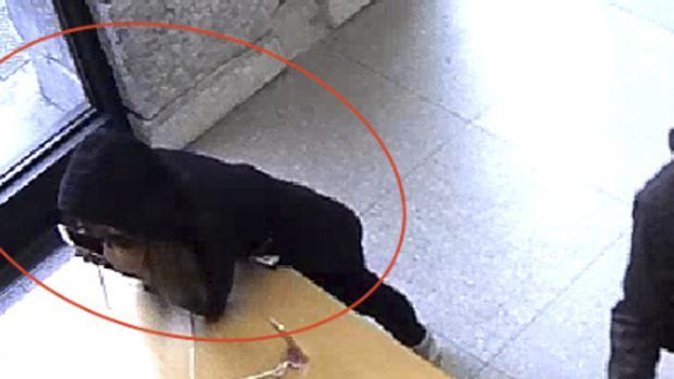 Un ladrón muerde el anclaje de un IPhone en la tienda Apple de Sol