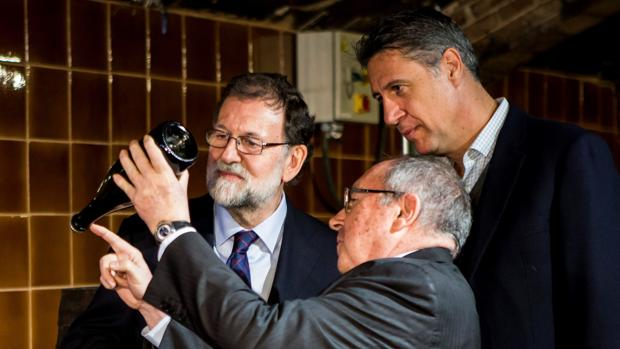 El presidente del Gobierno, con Xavier arcía Albiol y José Luis Bonet