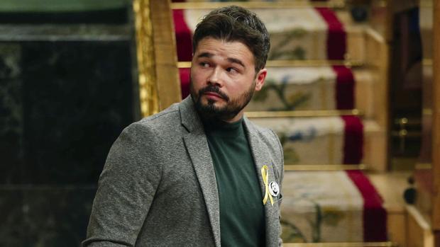 El diputado de ERC Gabriel Rufián, durante un pleno del Congreso de los Diputados