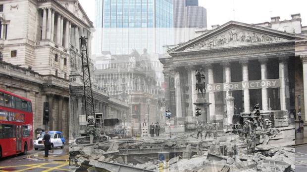 Imágenes yuxtapuestas de la ciudad de Londres bombardeada en 1941 y ahora