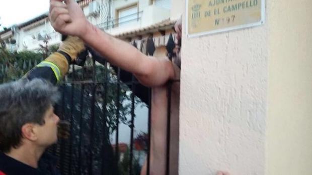 Imagen del rescate por parte de los bomberos de Alicante