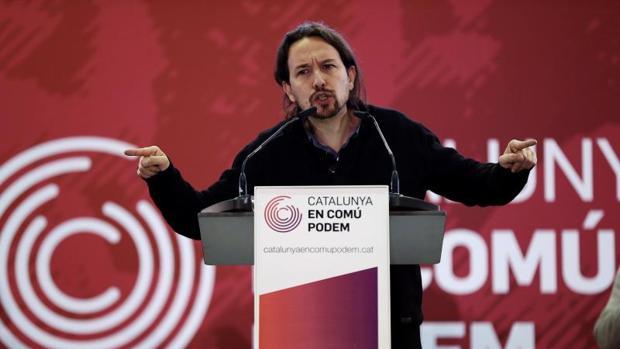 Pablo Iglesias en un acto público reciente en la campaña de las elecciones catalanas