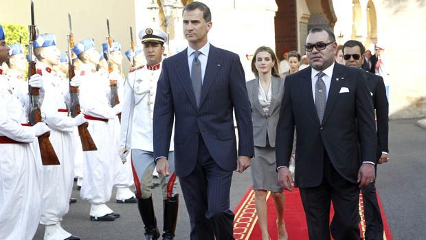 Don Felipe, junto al Rey de Marruecos, Mohamed VI