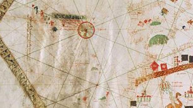 Canarias y la Penínsla en el mapa de 1439 de Gabriel Vallseca en el Museo Marítimo de Barcelona