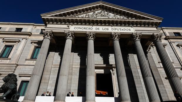 Fachada del Congreso de los Diputados, en la Carrera de San Jerónimo (Madrid)