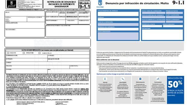 El modelo anterior, a la izquierda, y el formulario que se enviará a partir de febrero, a la derecha