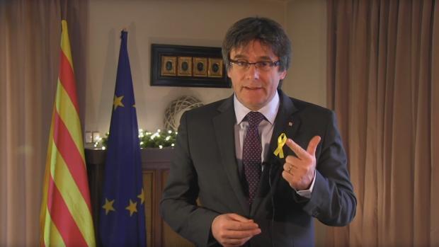 Puigdemont, durante su discurso del día 31