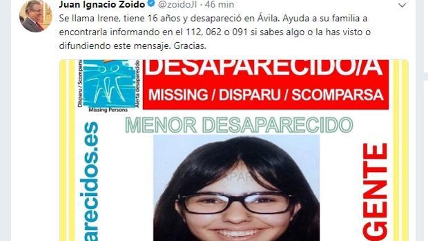 Tweet del ministro del Interior, Juan Ignacio Zoido, de este pasado domingo