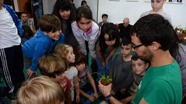 Escolares durante las actividades del Aula de la Naturaleza