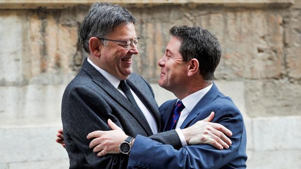 Ximo Puig y Emiliano García-Page, este sábado en el Palau de la Generalitat