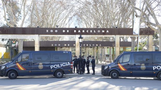Dos furgones de la Policía Nacional en el parque de la Ciutadella