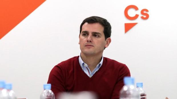 El presidente de Ciudadanos, Albert Rivera, el lunes durante la reunión de la ejecutiva de su partido