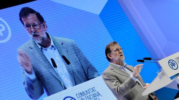 Mariano Rajoy en el Congreso del PP de la Comunidad Valenciana, en abril del pasado año