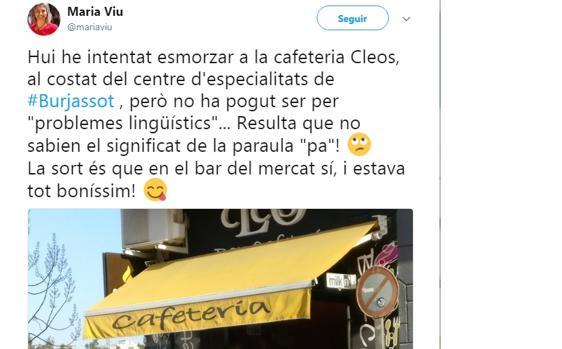 UNA CONCEJAL DE COMPROMIS SEÑALA A UN BAR DE BURJASOT POR RESPONDERLE EN CASTELLANO