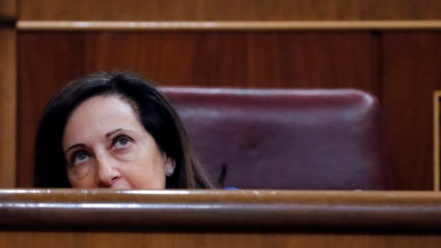 Margarita Robles, en su escaño del Congreso