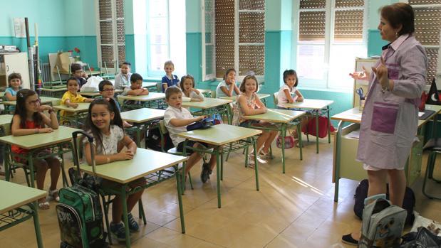 Alumnos de educación primaria en un colegio de Palencia