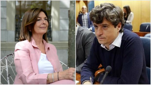 A la izda., la presidenta de la Asamblea, Paloma Adrados; a la dcha., el diputado de Podemos, Miguel Ongil