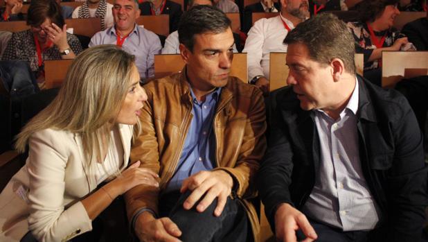 Milagros Toledón, alcaldesa de Toledo; Pedro Sánchez y Emiliano García-Page