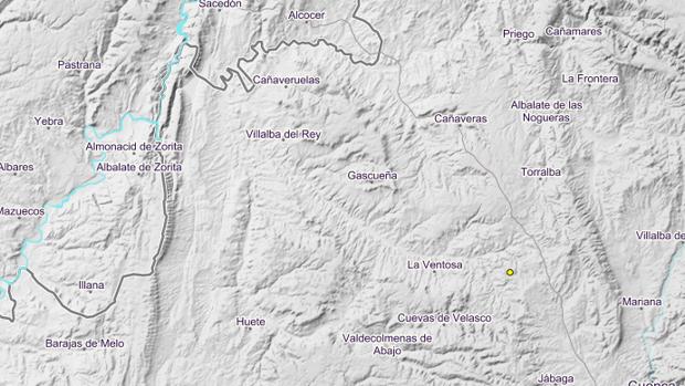 Mapa del terremoto en Villar de Domingo Garcia (Cuenca)