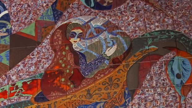 Detalle del enorme mural situado en la cafetería de la antigua Universidad Laboral de Toledo