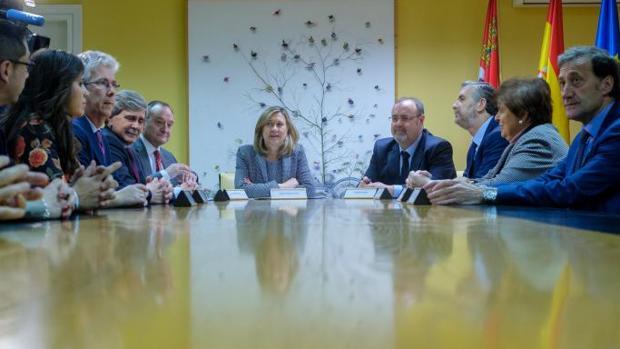 Fernando Rey y Pilar del Olmo, este pasado martes junto a los rectores de las universidades de Castilla y León